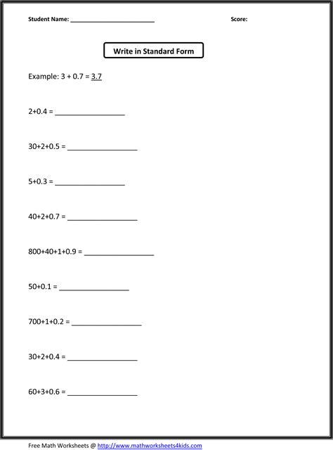 images  standard form worksheets  grade