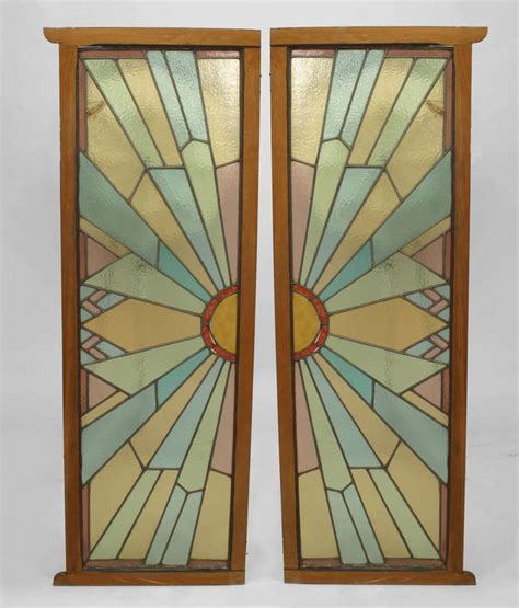 pair  french art deco stained glass doors  stdibs