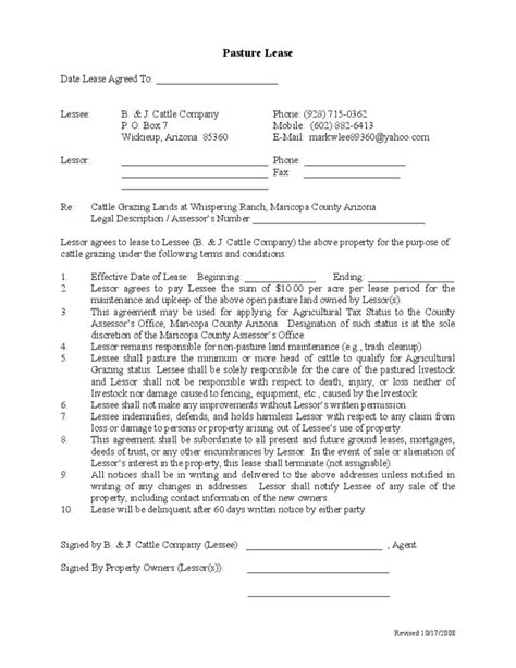 Sample Pasture Lease Agreement Template Free Download