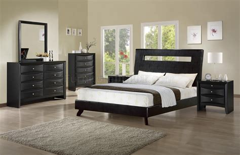 rich ebony finish modern bedroom wmatching leatherette bed