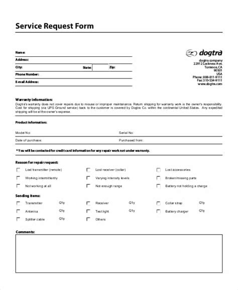 service request form templates word excel fomats