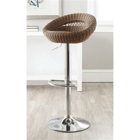Black Wicker Bar Stool With Back Combined Grey Metal Panel