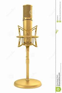 Golden Studio Microphone Isolated On White Stock ...