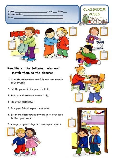 classroom rules    school worksheet interactive