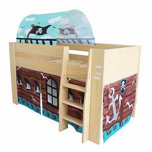 FoxHunter Wooden Mid Sleeper Cabin Bunk Bed Kids Tent ...