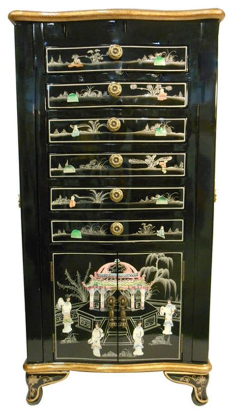 oriental jewelry armoire black lacquer  inlaid asian jewelry armoires  oriental