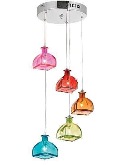 multi coloured bottle shade pendant