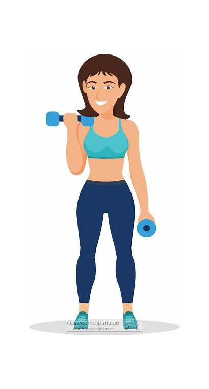 Clipart Weights Workout Woman Dumbbell Using Weightlifting