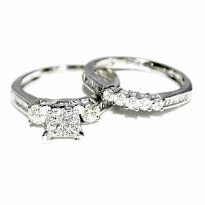 White gold diamond bridal set wedding rings 9ct just for Wedding band under engagement ring