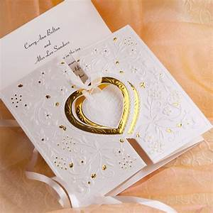 Unique and elegant hearts embossed affordable folded for Affordable wedding invitations near me