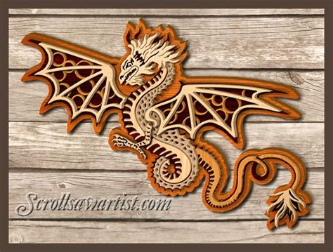 christmas scroll  patterns multi layered dragon