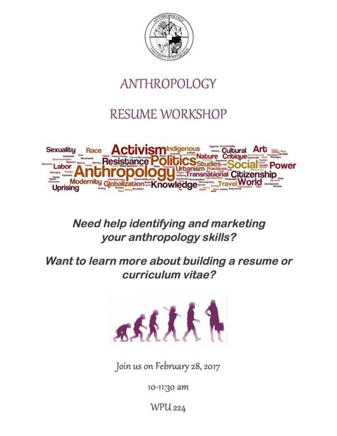 anthropology resume workshop department of anthropology
