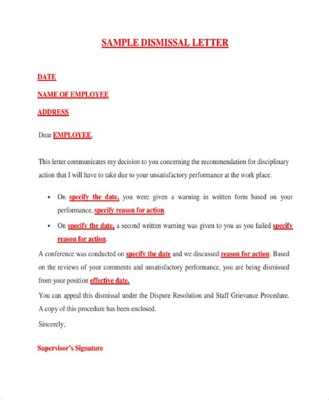 sample dismissal letter template   documents
