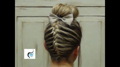 french braid sock bun girls hairstyles youtube