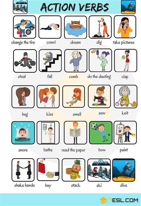 50 Common Action Verbs In English  Vocabulary  7 E S L