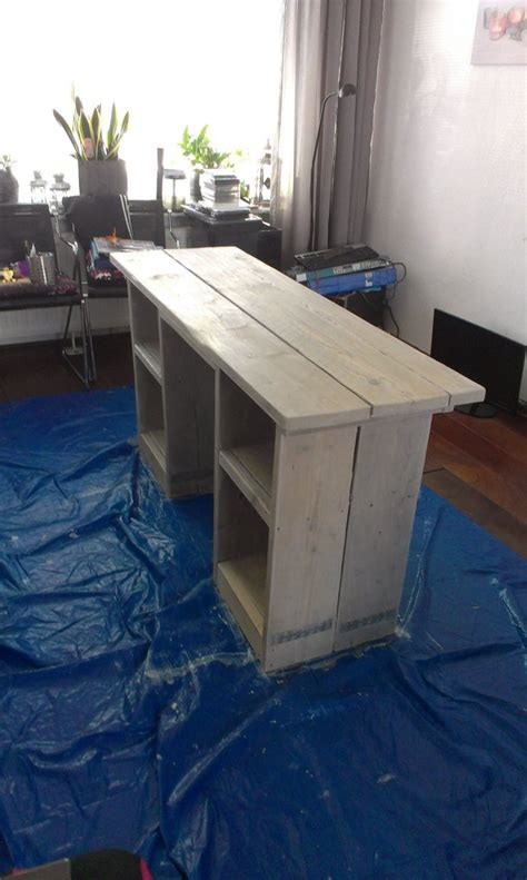 white washed computer desk  scaffold planks  frysian