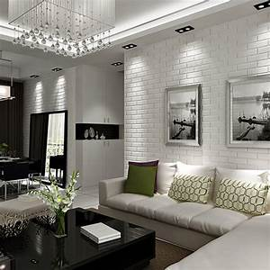 White And Grey Living Room Wallpaper