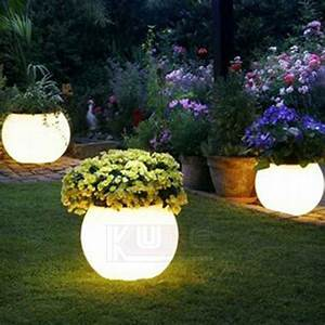 China, Light, Pots, Garden, Pots, Illuminated, Planter, Glow, At, Night