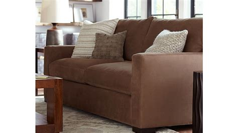 crate and barrel settee axis ii 2 seater brown microfiber sofa crate and barrel