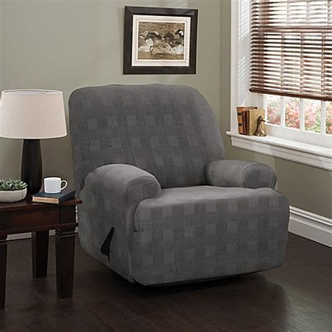 Plaid Recliner by Stretch Plaid Jumbo Recliner Slipcover Bed Bath Beyond