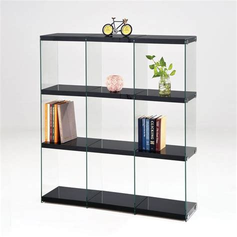 Black Glass Bookcase by Acme Baxter Black Clear Glass Bookcase Ellamodern