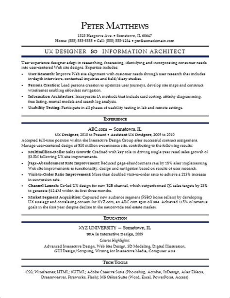 Ux Manager Resume by Sle Resume For A Midlevel Ux Designer