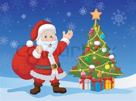 vector illustration of cartoon santa clause with christmas
