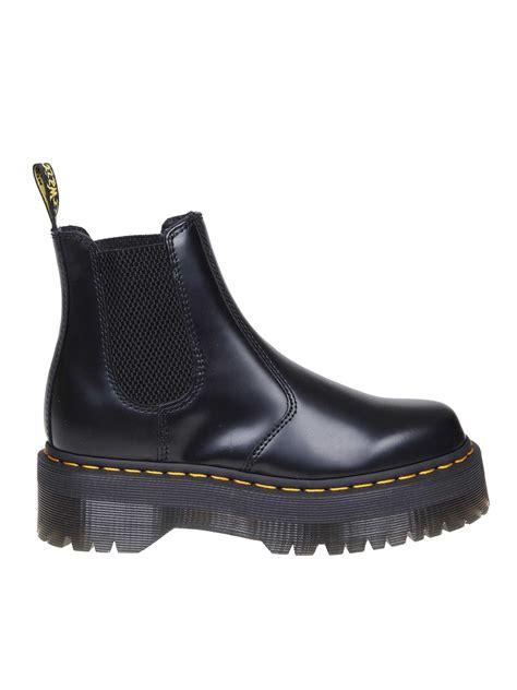 dr martens leather black  quad ankle boots lyst