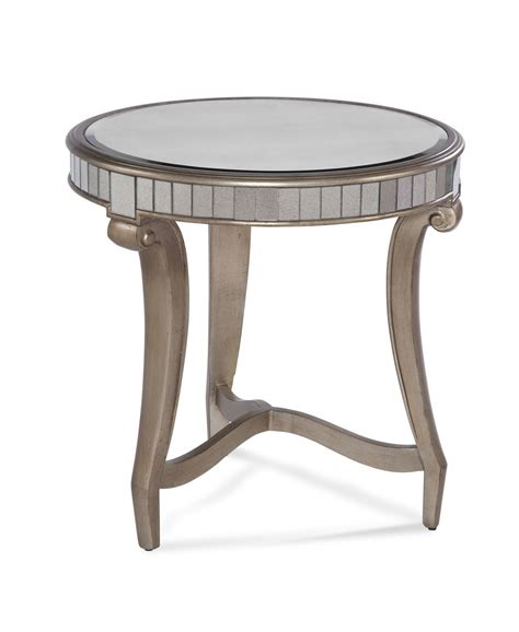 silver leaf end table celine round end table real silver leaf antique mirror