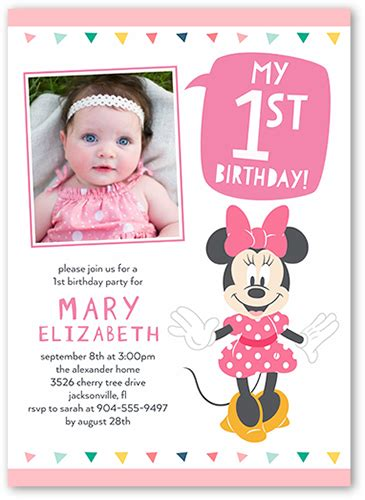 disney minnie mouse baby girl st birthday invitation