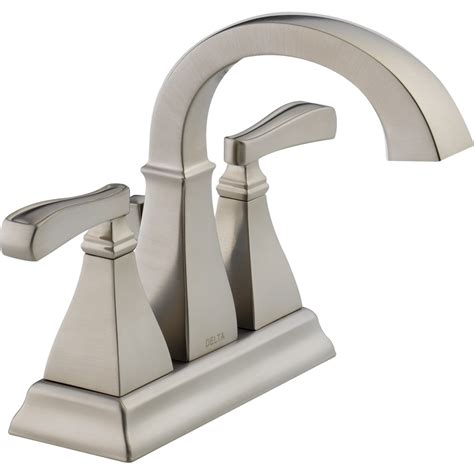 brushed nickel bathroom sink faucet shop delta olmsted spotshield brushed nickel 2 handle 4 in
