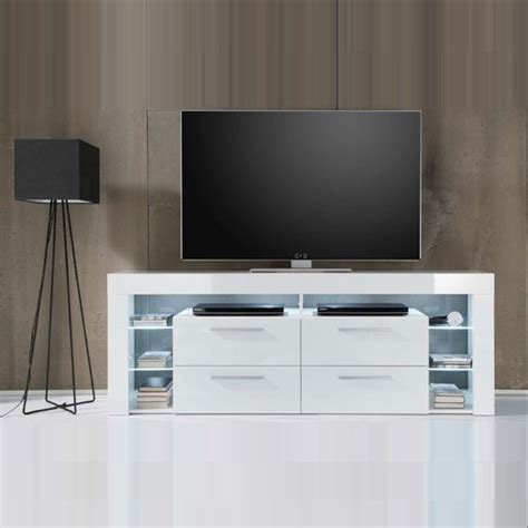 sorrento tall lcd tv stand  white gloss  white led