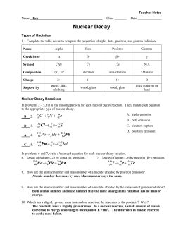 Nuclear Chemistry Video Notes