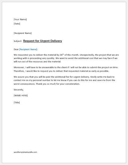 request letter  urgent delivery ms word formal word