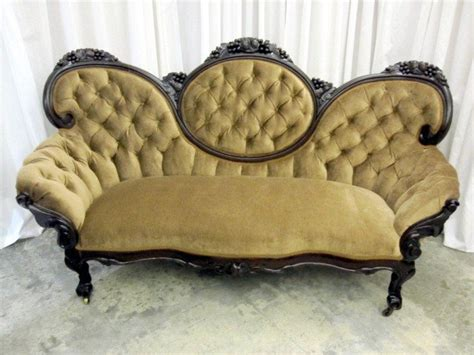 Antique Victorian Style Medallion Button Tuck Sofa Couch For Sale