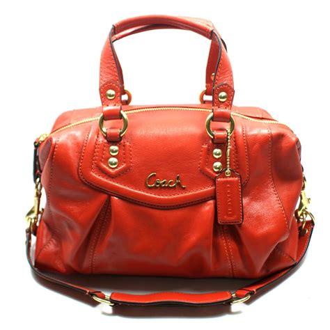 coach ashley leather satchel shoulder bag vermillion  coach