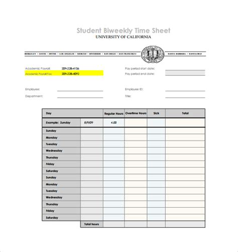 timesheet template students biweekly timesheet template 7 free download in pdf