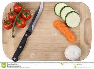 Preparing Food, Slicing Vegetables Knife On Cutting Board ...