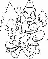 Coloring Winter Printable Clothes Fireplace sketch template