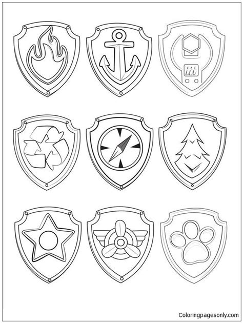 paw patrol symbols coloring page  coloring pages
