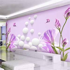 3D Wallpaper Bedroom Mural Modern Living room TV flowers ...