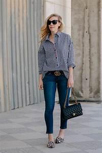 Meagan Brandon - Gingham Shirt Gucci Marmont Belt Paige Maternity Jeans Joie Leopard Mules ...