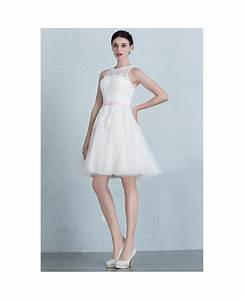 Mini lace tulle short wedding dresses ivory a line scoop for Cute short dresses to wear to a wedding
