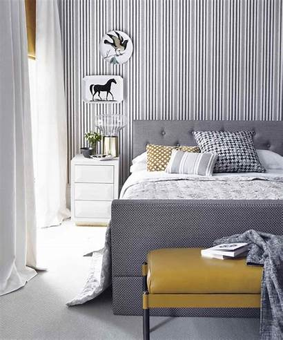 Bedroom Striped Wall Grey Bed Accent Walls