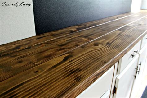 torched diy rustic wood counter top