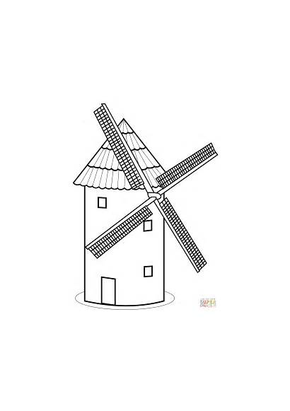 Mill Coloring Tower Drawing Pages Windmill Template