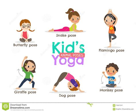 yoga kids poses vector illustration stock vector