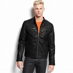 Guess Jacket Leather Moto Jacket in Black for Men | Lyst
