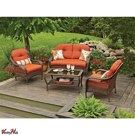 Lawn Chair Set by 4 Pc Patio Deck Outdoor Resin Wicker Chair Sofa Sectional