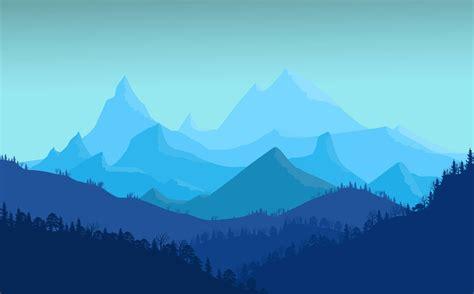 art blue flat landscape minimal mountains photoshop